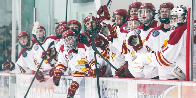 Bench Celebration: The Bulldog bench erupts during the shootout against Western Michigan. Ferris State would split last weekend, Feb. 8-9, on the road at Northern Michigan.  Photo By: Brock Copus | Multimedia Editor