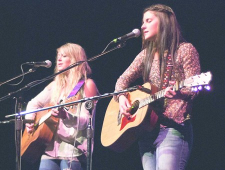 """Got Talent?: Ferris students Ashlyn Chambers and Kim Curcuru perform an original song """"Make Believe"""" (above) during Ferris Has Talent in Williams Auditorium. Photo By: Tori Thomas 