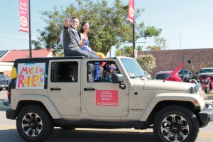Homecoming royalty winner Rainer Brow in the homecoming parade on Sept. 26.