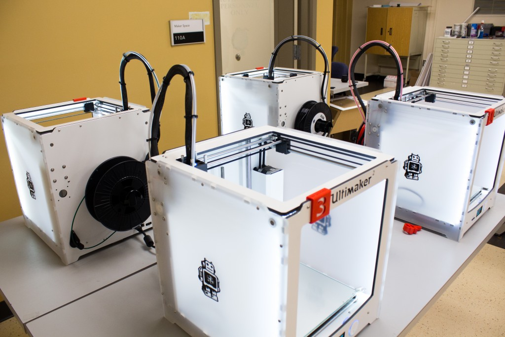 """Four 3D printers are available in the """"maker space,"""" a lab located in the Swan Building that was designed for students to utilize and learn from the newly acquired equipment."""