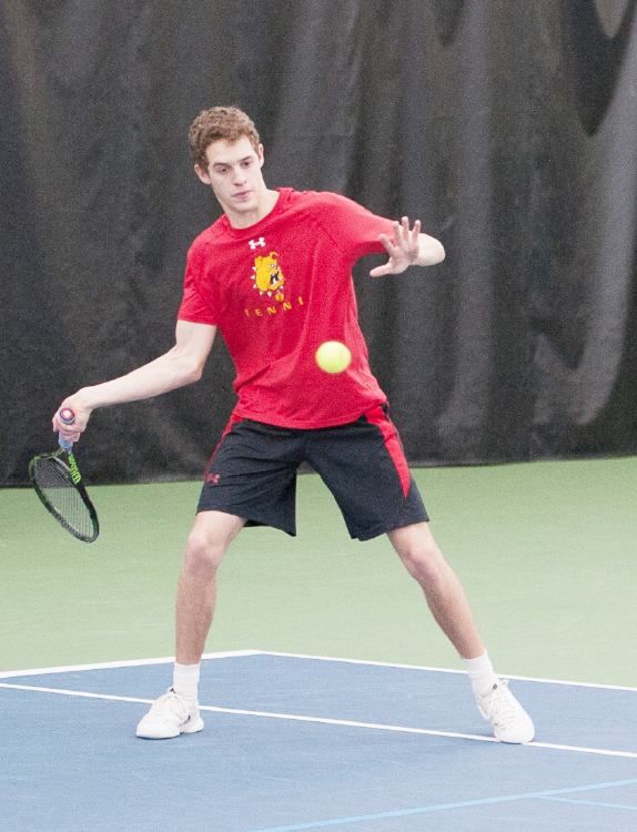 Ferris State sophomore Simon Levy rips a forehand in a match against Salem International earlier this season.